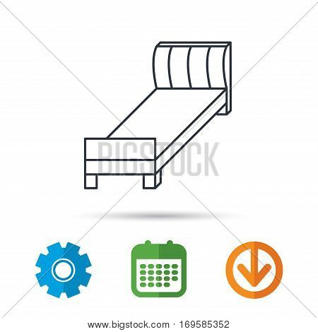 Single bed icon. Bedroom furniture sign. Calendar, cogwheel and download arrow signs. Colored flat web icons. Vector