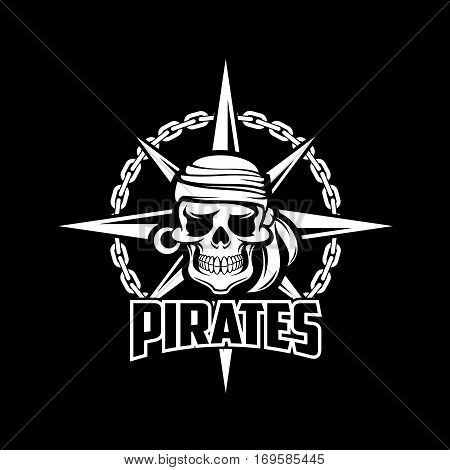 Black pirates flag of vector sailor or captain skeleton skull with earring and kerchief or bandana, ship chain and compass. Piracy poster design for entertainment party decor, alcohol drink bar or pub emblem or sign