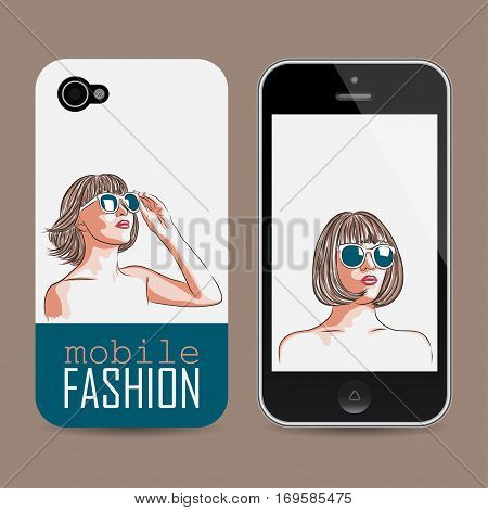 vector mobile phone cover template with woman wearing sunglasses. EPS