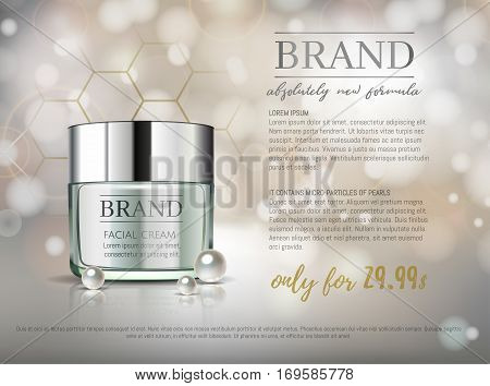 Premium Vip Cosmetic Ads, Hydrating Luxury Facial Cream For Sale. Elegant Light Green Cream Mask Bot