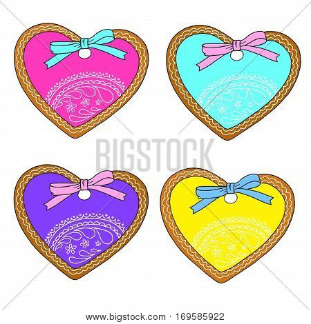 Collection of gingerbread in the shape of a heart. Valentine's Day. Gifts for lovers. Vector isolated on white background..