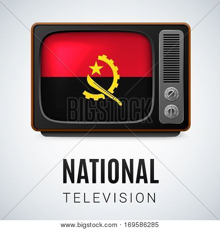 Vintage TV and Flag of Angola as Symbol National Television. Tele Receiver with Angolan flag