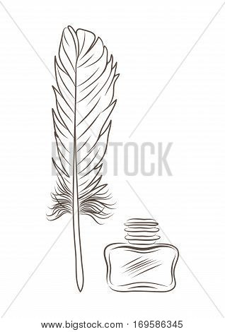 vector illustration of feather and inkpot isolated on white. EPS