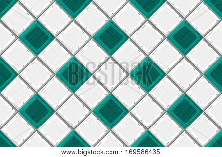 Cartoon Hand Drown Cyan And White Old Diagonal Seamless Tiles Texture. Vector Illustration