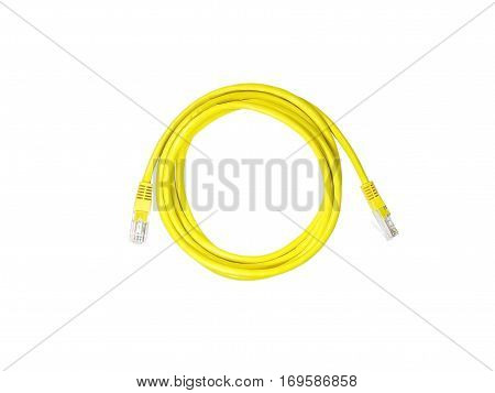 Closeup LAN cables with connector isolated on white background with clipping path.