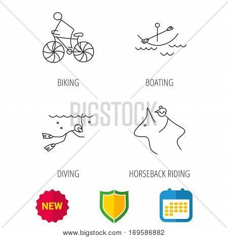 Diving, biking and horseback riding icons. Boating linear sign. Shield protection, calendar and new tag web icons. Vector