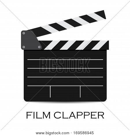 vector illustration of black film clapper isolated on white. EPS