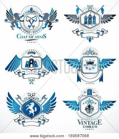 Set of vector vintage emblems created with decorative elements like crowns stars bird wings armory and animals. Collection of heraldic coat of arms.