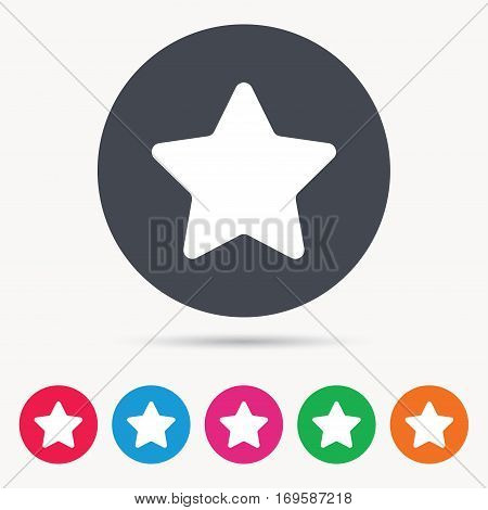 Star icon. Favorite or best sign. Web ranking symbol. Colored circle buttons with flat web icon. Vector