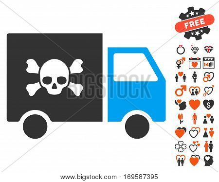 Toxic Transportation Car pictograph with bonus marriage pictograph collection. Vector illustration style is flat iconic elements for web design app user interfaces.