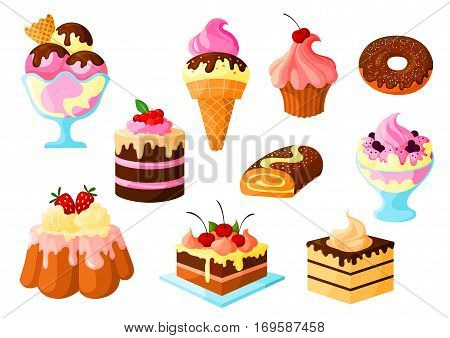Cakes, pies and sweets desserts vector isolated icons of fruit cupcake and chocolate glaze, ice cream, tart and donut, cinnamon roll bun and pudding with cream fondant. Isolated set for bakery shop, pastry and patisserie or confectionery