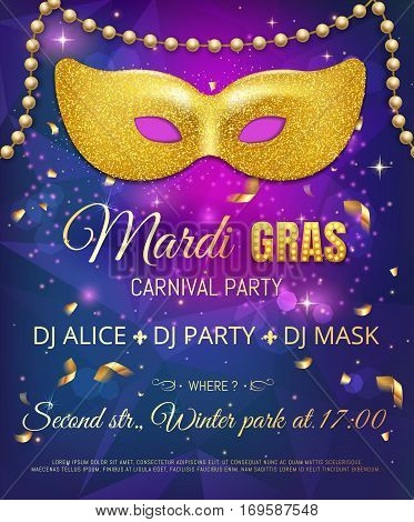 Gold Glitter Mask For Mardi Gras Tuesday Carnival Party Poster O