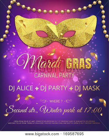 Gold Triangle Pattern Glitter Mask For Mardi Gras Tuesday Carniv
