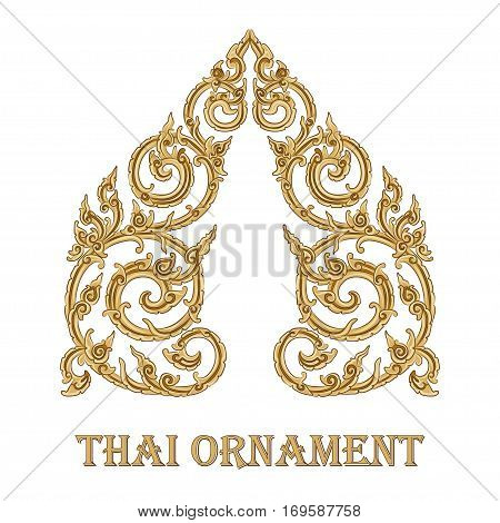 vector illustration of traditional golden Thai ornament. EPS