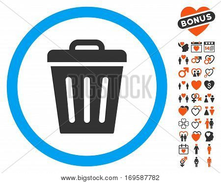 Trash Can pictograph with bonus decorative icon set. Vector illustration style is flat iconic symbols for web design app user interfaces.
