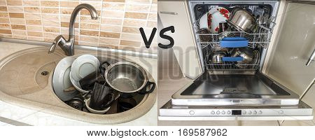 Sink with dirty kitchenware utensils and dishes. Open dishwasher with clean dishes. Improvement easy comfort life and progress concept.