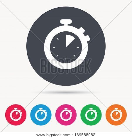 Stopwatch icon. Timer or clock device symbol. Colored circle buttons with flat web icon. Vector