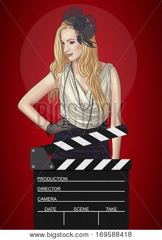 vector illustration of retro woman with film clapper. EPS