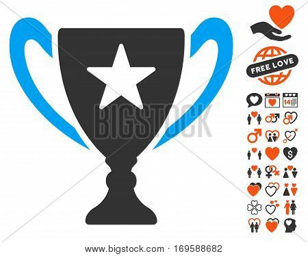 Trophy Cup pictograph with bonus valentine clip art. Vector illustration style is flat iconic symbols for web design app user interfaces.