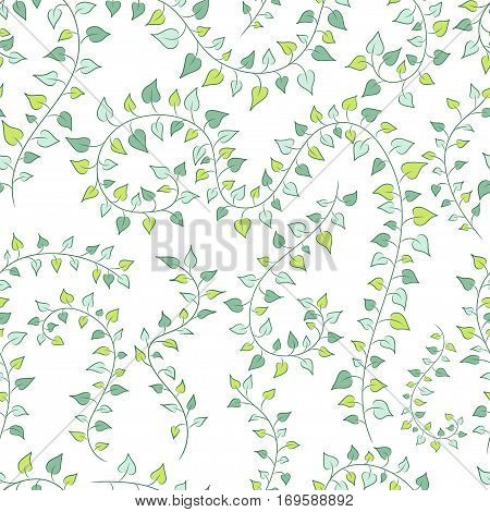 vector seamless floral background with green clambering plants. EPS