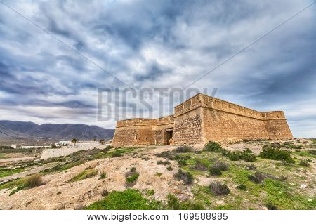 HDR image of Castle of San Felipe in Cabo de Gata natural park Almeria province Andalusia Spain