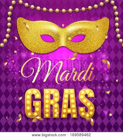 Gold Glitter Mask For Mardi Gras Tuesday Carnival Party Poster On Purple Background With Rhombus Tex