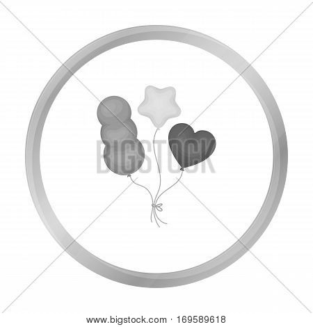 Baloons icon in monochrome style isolated on white background. Circus symbol vector illustration.