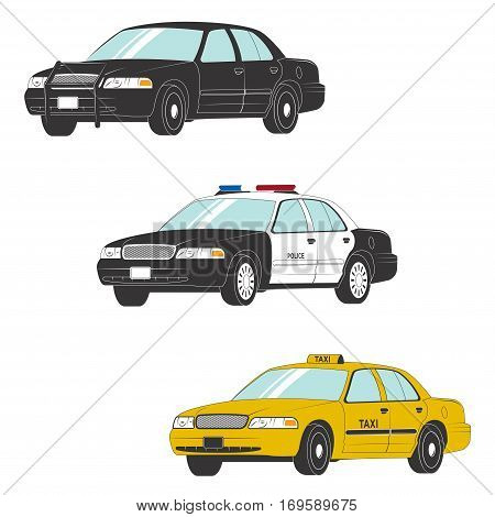 Colored set of different types of official vehicles. Vector car collection isolated on white background