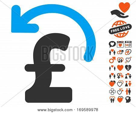 Undo Pound Payment pictograph with bonus romantic pictograph collection. Vector illustration style is flat iconic elements for web design app user interfaces.
