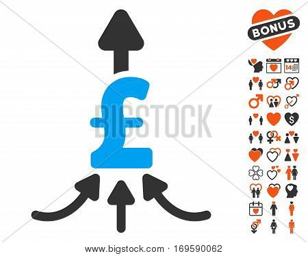 Unite Pound Payments pictograph with bonus valentine symbols. Vector illustration style is flat iconic elements for web design app user interfaces.