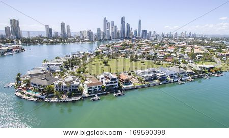 Aerial view of Cronin Island waterfront properties, facing south with Surfers Paradise in the horizon.