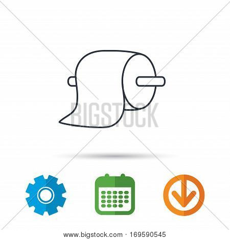 Toilet paper icon. WC hygiene sign. Calendar, cogwheel and download arrow signs. Colored flat web icons. Vector