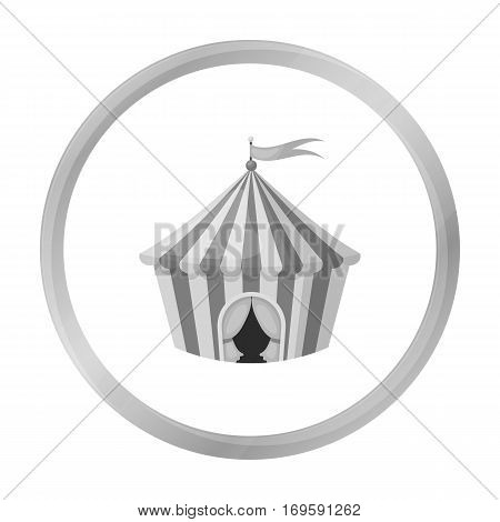 Circus tent icon in monochrome style isolated on white background. Circus symbol vector illustration.