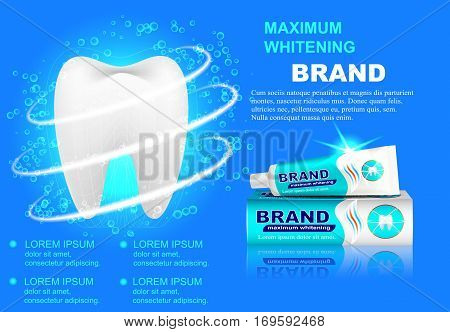 Advertising whitening toothpaste sparkling white teeth and bubbles isolated on blue background