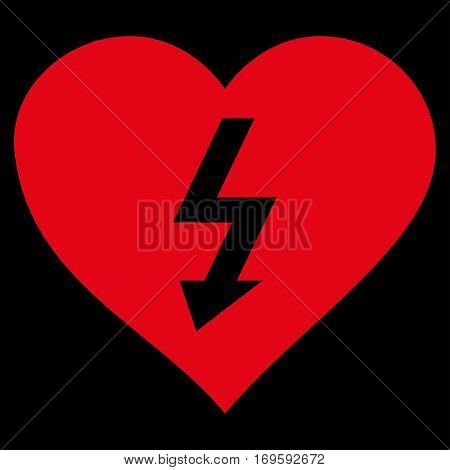 Power Love Heart flat icon. Vector red symbol. Pictogram is isolated on a black background. Trendy flat style illustration for web site design logo ads apps user interface.