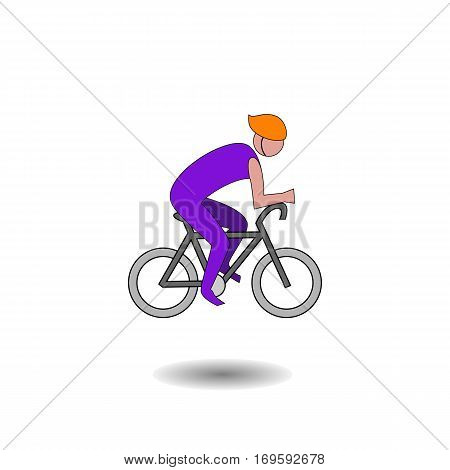 Cyclist icon. Simple flat logo of cyclist isolated on white background. Vector illustration.