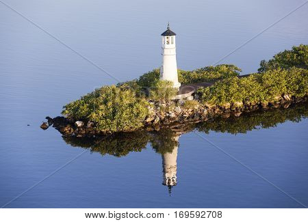 The view of Tampa city lighthouse on Harbour Island in the morning light (Florida).