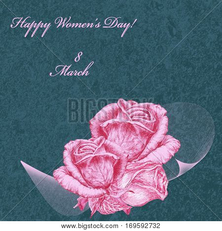 International Women's Day celebrated on March 8 greeting card. Pink roses on blue textured background. In some countries this holiday coincides with Mother's Day.