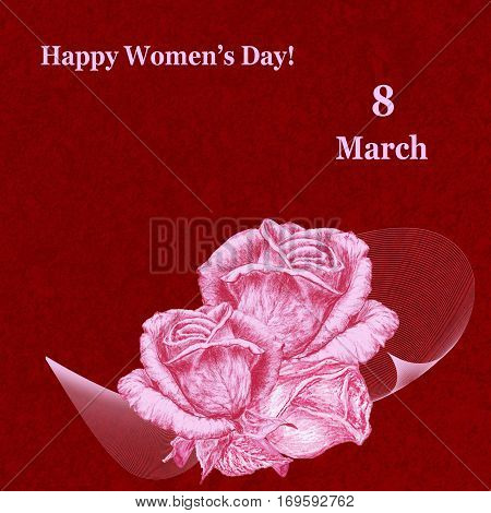International Women's Day celebrated on March 8 greeting card. Pink roses on dark red textured background. In some countries this holiday coincides with Mother's Day.
