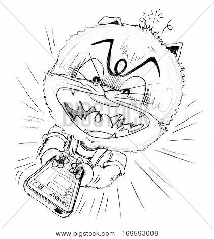 Cat socail chat with his friend in mobile phone finger typing on touch screen very quikly Cartoon charactor pencil sketch design funny and cute manga style black and white color.
