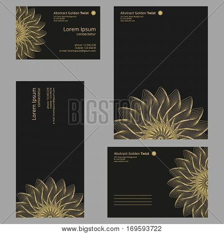 Futuristic floral company identity set isolaed booklet flyer broshure letterhead