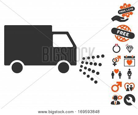 Washing Car icon with bonus passion symbols. Vector illustration style is flat iconic symbols for web design app user interfaces.