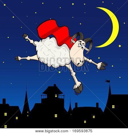 Crazy super hero sheep flying in the sky over night city funny background