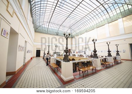 MOSCOW, RUSSIA - FEB 17, 2016: Hall with columns at Faculty of journalism in Lomonosov moscow state university