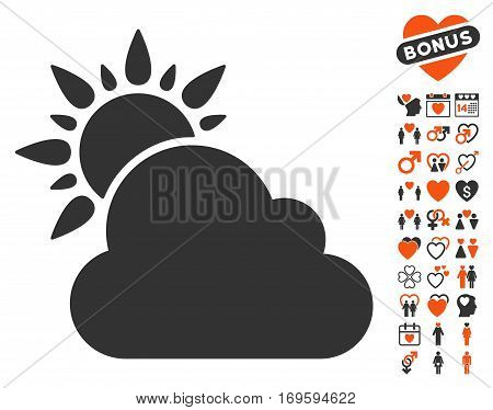 Weather icon with bonus dating clip art. Vector illustration style is flat iconic symbols for web design app user interfaces.