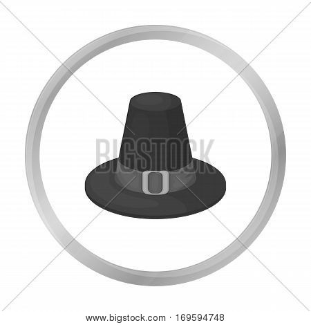 Pilgrim hat icon in monochrome style isolated on white background. Canadian Thanksgiving Day symbol vector illustration.