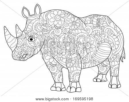 hippopotamus animal coloring book for adults vector illustration. Anti-stress coloring for adult. Zentangle style. Black and white lines. Lace pattern