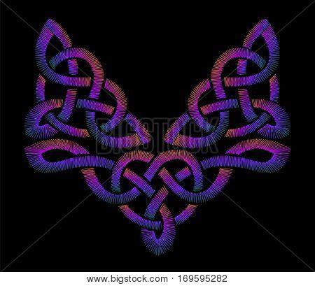 Embroidered Celtic patterns. traditional ornament. fashionable design. neckline vector illustration