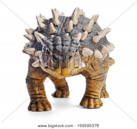 Saichania, front view, close up, dinosaur toy isolated on white background with clipping path. Genus of herbivorous ankylosaurid dinosaur from the Late Cretaceous period of Mongolia and China.