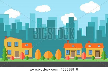 Vector city with three cartoon houses and buildings. City space with road on flat style background concept. Summer urban landscape. Street view with cityscape on a background